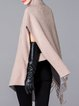 Beige Wool Blend Turtleneck Casual Poncho And Cape