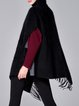 Black Wool Blend Casual Graphic Fringed Poncho And Cape