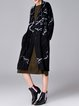 Black Casual Pockets Graphic Wool Blend Coat With Grommet