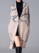 Beige Long Sleeve Wool Blend Pockets Graphic Coat With Grommet