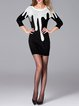Color-block Long Sleeve Casual Graphic Wool blend Mini Dress