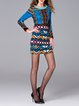 Multicolor Long Sleeve Printed Sheath Wool Blend Mini Dress