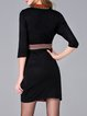 Black Stand Collar Vintage Wool Blend Mini Dress