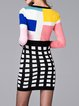 Multicolor Wool blend Bodycon Geometric Casual Mini Dress