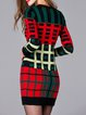 Long Sleeve Wool blend Casual Crew Neck Geometric Sweater Dress