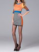 Multicolor Bodycon 3/4 Sleeve Color-block Sweater Dress