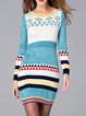 Multicolor Paneled Long Sleeve Wool blend Bodycon Sweater Dress
