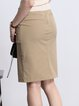 Khaki Bodycon Plain Elegant Midi Skirt