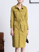 Mustard Lapel Pockets Casual Coat With Belt
