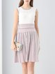 White Knitted Casual Stripes A-line Sweater Dress