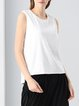 White High Low Casual Glitter-finished Tanks And Cami