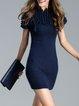 Dark Blue Plain Crew Neck Short Sleeve Sheath Mini Dress