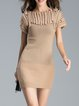 Apricot Plain Short Sleeve Appliqued Mini Dress