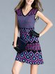 Purple Sheath Cotton-blend Casual Sweater Dress