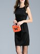 Black Elegant Appliqued A-line Plain Midi Dress