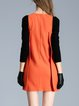 Angora-blend Simple 3/4 Sleeve Pockets Mini Dress