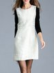 White Sleeveless Cotton-blend Crew Neck A-line Mini Dress