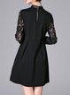 Gray Elegant Stand Collar Plain Lace Paneled Mini Dress