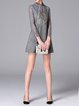 Gray Elegant Stand Collar Plain Lace Paneled Mini Dress