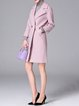 Pink H-line Long Sleeve Solid Lapel Wool blend Coat