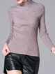 Gray Knitted Long Sleeve Stand Collar Plain Sweater