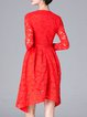Red Long Sleeve Crew Neck Asymmetrical Lace Midi Dress