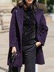 Purple Long Sleeve Hoodie Wool Blend Pockets Coat