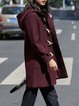 Wine Red Buttoned Wool Blend Hoodie Long Sleeve Coat