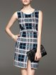 Multicolor Checkered/Plaid Sleeveless Wool Blend Slit Mini Dress