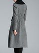 Elegant Plain Wool Blend Pockets Long Sleeve Coat With Belt