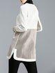 Beige Pierced Elegant Long Sleeve Coat