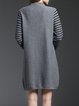 Paneled A-line Crew Neck Long Sleeve Sweater Dress