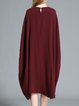 Wine Red Appliqued Cotton Shift Statement Midi Dress