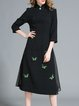 Black Paneled Vintage Stand Collar A-line Midi Dress