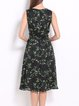 Black Casual Floral Printed A-line Midi Dress