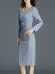 Light Blue Long Sleeve Square Neck Slit Midi Dress