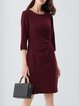 Burgundy Plain Polyester 3/4 Sleeve Mini Dress