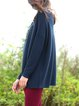Royal Blue Plain Knitted Boat Neck Casual Sweater