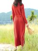 Orange Casual Slit Knitted Sweater Dress With Belt