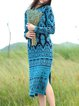 Multicolor Vintage Tribal Knitted Sweater Dress