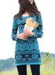 Blue Vintage Jacquard Knitted Sweater Dress