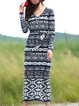 Multicolor Long Sleeve Sheath Geometric V Neck Sweater Dress With Belt