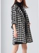Houndstooth Simple 3/4 Sleeve Coat
