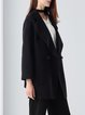 Wool Shift Buttoned Simple Long Sleeve Coat