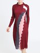 Elegant Ribbed Printed Long Sleeve A-line Midi Dress
