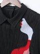 Elegant Ribbed Printed Long Sleeve A-line Midi Dress