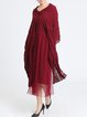 Wine Red Shift Folds Batwing Midi Dress
