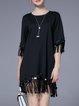 Black Fringed 3/4 Sleeve Crew Neck Cotton-blend Mini Dress