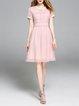 Pink Chiffon Crew Neck Short Sleeve Solid Midi Dress