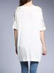 White Half Sleeve Appliqued Crocheted Floral Cocoon Tunic